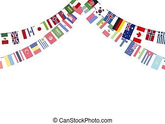 concepto, proporciones, aislado, soberano, estados, brillante, banderas, plano de fondo, blanco, guirnaldas, mundo, verdadero
