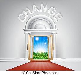 concepto, puerta, cambio