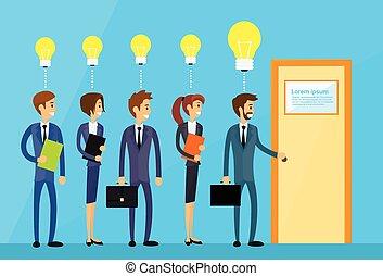 concepto, puerta, empresarios, luz, idea, bombilla, manija,...