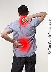 concepto, quiropráctico, cuerpo, escoliosis, tratamiento, ciática, dolor, macho, dolor de espalda, hombre