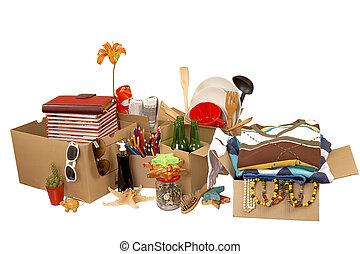 concepto, recolocación, transporte, cajas de cartón