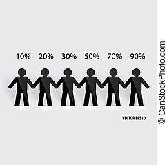 concepto, red, gente, papel, corte, illustr, vector, social...