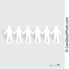 concepto, red, gente, papel, corte, vector, social, :, ...