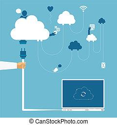 concepto, red, informática,  distributed, radio,  vector, nube