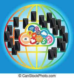 concepto, red, móvil,  global, teléfono, nube
