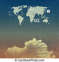 concepto, red, nube, idea