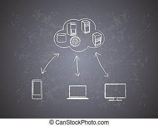 concepto, red, nube, informática