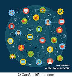 concepto, red,  social
