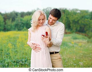 concepto, relaciones, amor, pareja, -, el proponer, boda, hombre