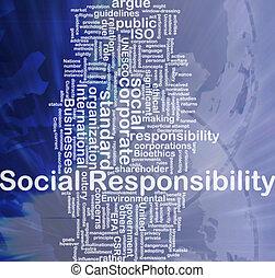 concepto, responsabilidad, plano de fondo, social