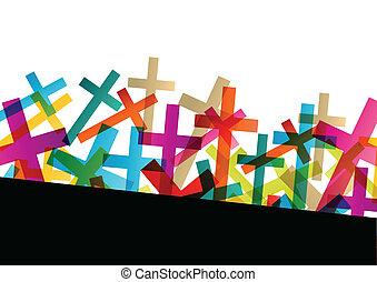 concepto, resumen, cruz, cristianismo, religión, vector, ...