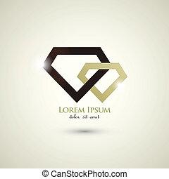 concepto, resumen, diamante, lujo, plantilla, logotipo