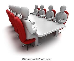 concepto, reunión, empresa / negocio, 3d
