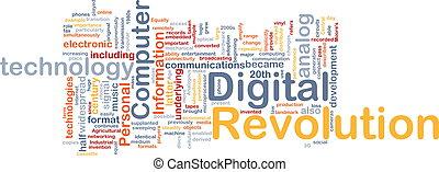 concepto, revolución, plano de fondo, digital