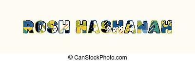 concepto, rosh, palabra, ilustración, hashanah, arte