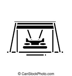concepto, símbolo, glyph, vector, columpio, inmenso, ...