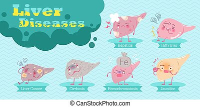 concepto, salud, caricatura, hígado