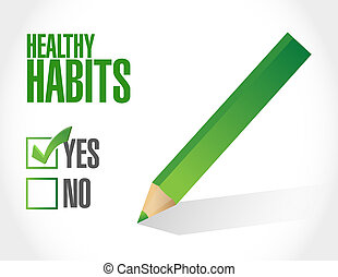 concepto, sano, marca, hábitos, señal, cheque