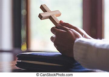 concepto, santo, spirtuality, fe, manos, iglesia, doblado,...