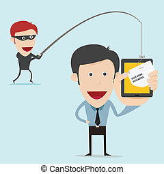 concepto, scam, negocio internet, phising