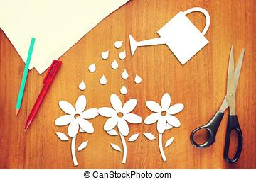 concepto, scrapbooking, hecho, regar, gardening., flores
