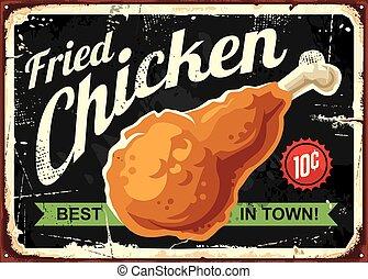 concepto, señal, diseño, retro, pollo, frito