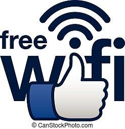 concepto, señal, libre, aquí, wifi