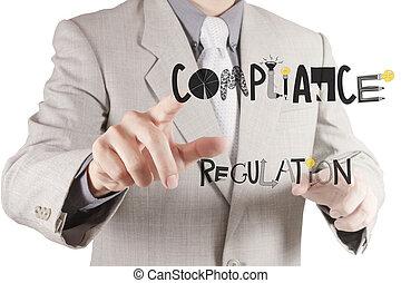 concepto, señalar, designwords, conformidad, mano, regulación, hombre de negocios