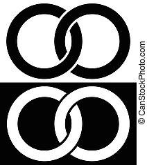 concepto, se trabar, resumen, anillos, círculos, conexión, icon., icono