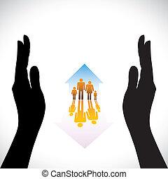 concepto, seguro, familia , gente, mano., símbolos, casa seguro, niños, silueta, y, contiene, ilustración, mano, home(residence), representa, como, iconos, protection., conceptos, seguridad, padres