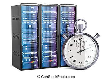 concepto, servidor, interpretación, computadora, cronómetro, 3d
