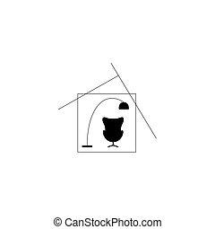 concepto, silla, hogar, illlustration., símbolo, vector, lamp., house., interior.