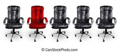 concepto, sillas de la oficina, negro, estante, rojo, afuera