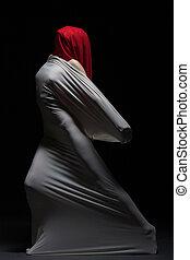 concepto, silueta, -, hembra, dolor, faceless