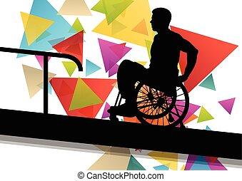 concepto, silueta, sílla de ruedas, hombres, ilustración,...