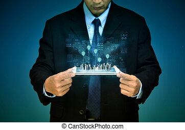 concepto, sistema global que posiciona, tecnología de internet