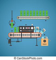 concepto, smartphones, transportador, notas, fondo, vector, línea, inversión