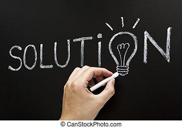 concepto, solución, mano, dibujo