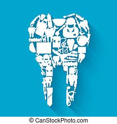 concepto, stomatology, diente