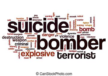 concepto, suicidio, bombardero, palabra, nube