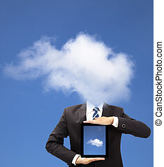 concepto, tableta, pensamiento, pc, tenencia, hombre de ...
