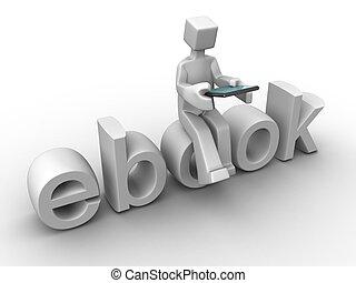 concepto, tecnología, ebook, digital