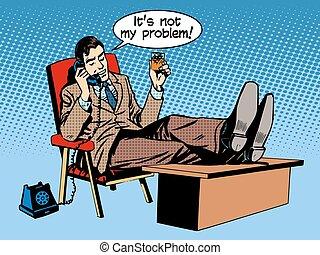 concepto, teléfono del negocio, habla, no, hombre de negocios, problema, mi