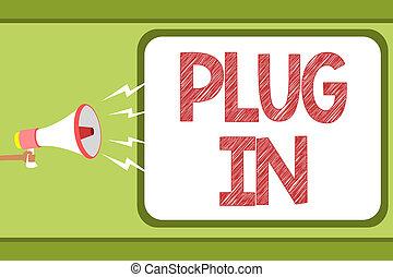 concepto, texto, él, mensaje, altavoz, electricidad, discurso, tenencia, de conexión, megáfono, burbuja, oratoria, loud., potencia, en., poniendo, dispositivo, hombre, enchufe, significado, vuelta, escritura