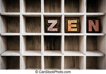 concepto, texto impreso, de madera,  zen, cajón, tipo
