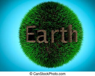 concepto, tierra, ambiente, escrito, tierra, pasto o césped, Pelota