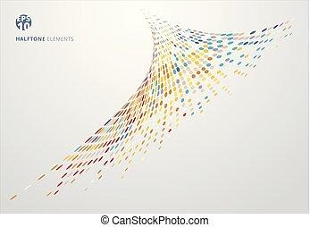 concepto, tormenta, colorido, resumen, espiral, halftone, plano de fondo, blanco, tecnología