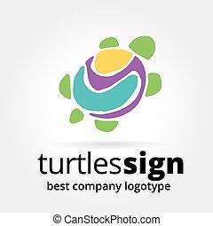 concepto, tortuga, resumen, logotype, aislado, vector, plano...