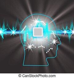 concepto, trabajando, banda, lights., pulso, microcircuito, encendido, cerebro, cabeza humana