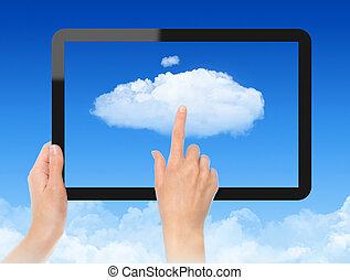 concepto, trabajando, nube, informática